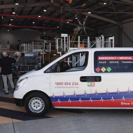 15. VRA van in heli workshop wide shot
